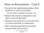 notes on presentations cont d