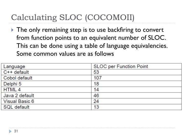 Calculating SLOC (COCOMOII)