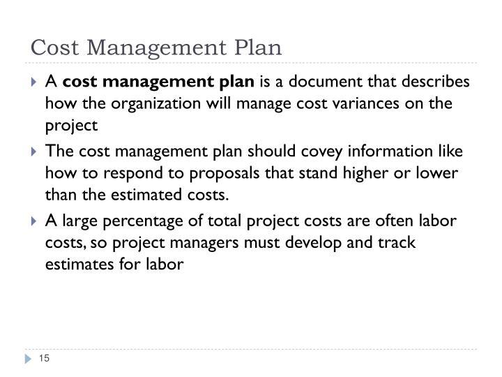 Cost Management Plan