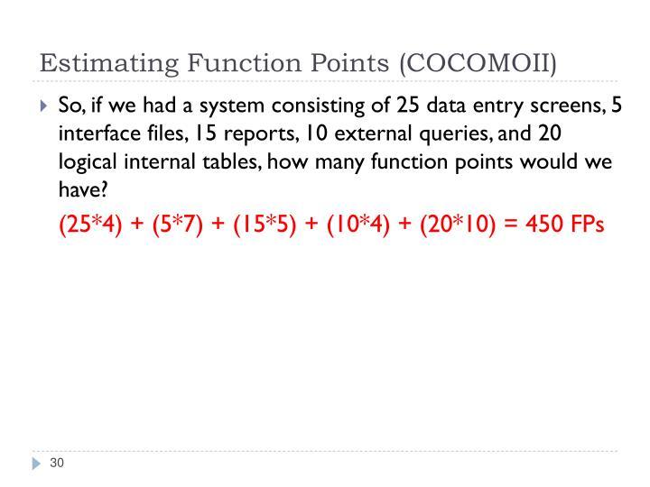 Estimating Function Points (COCOMOII)