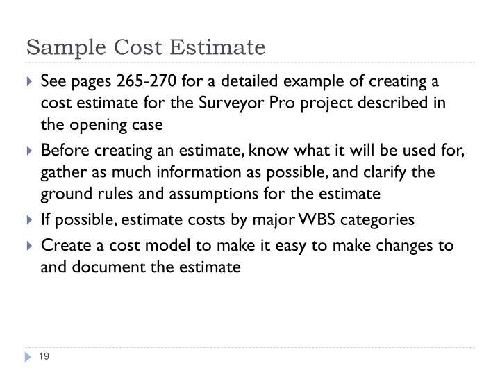 Sample Cost Estimate