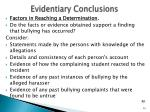 evidentiary conclusions