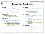 inspection constraints