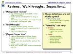 reviews walkthroughs inspections