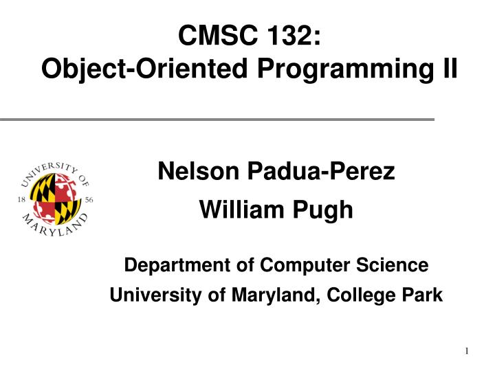 cmsc 132 object oriented programming ii n.