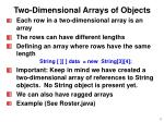 two dimensional arrays of objects
