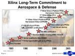 xilinx long term commitment to aerospace defense