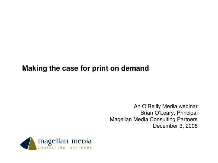 making the case for print on demand n.