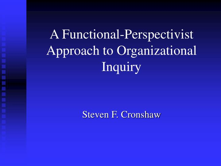 a functional perspectivist approach to organizational inquiry n.