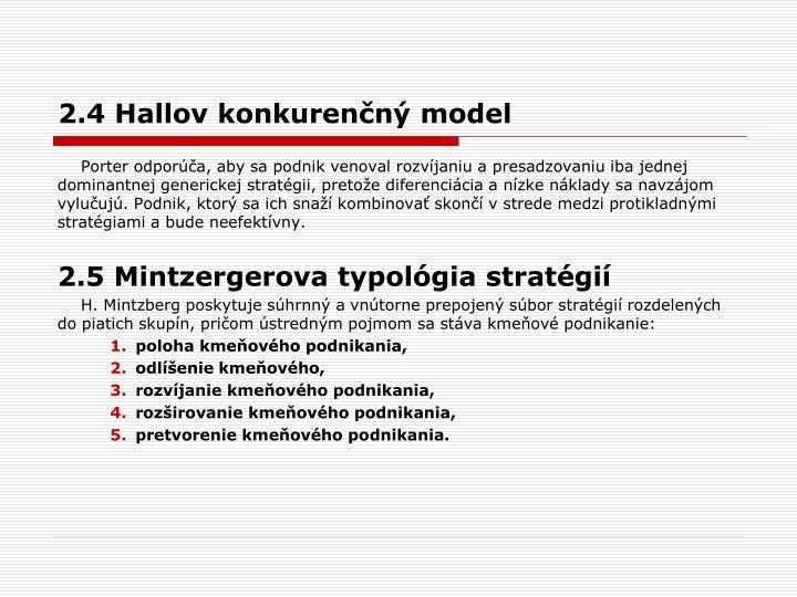 2.4 Hallov konkurenčný model