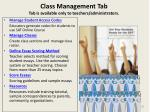 class management tab tab is available only to teachers administrators