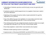 summary information on implementation of title ii of the treaty electricity and gas