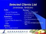selected clients list overseas fertilizer