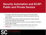 security automation and scap public and private sectors