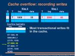 cache overflow recording writes
