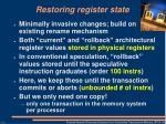 restoring register state