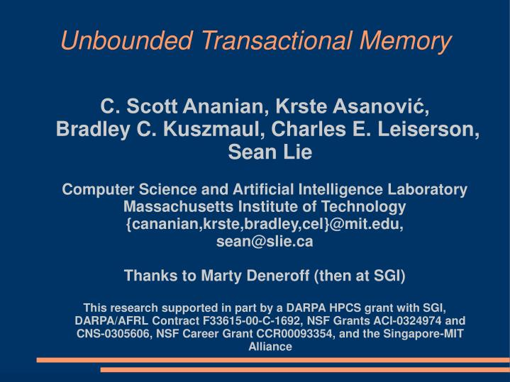 unbounded transactional memory n.