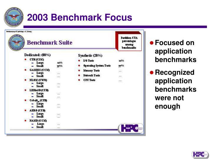 2003 Benchmark Focus
