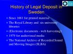 history of legal deposit in sweden