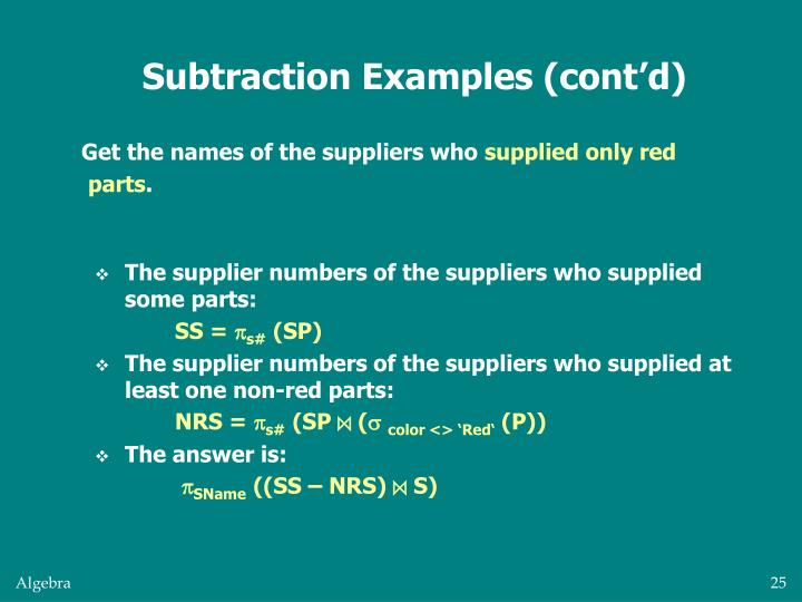 Subtraction Examples (cont'd)
