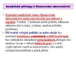 analytick p stupy k financov n zdravotnictv