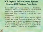 ict impacts infrastructure systems example 2001 california power crisis