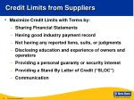 credit limits from suppliers