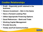 creditor relationships