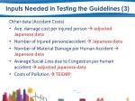 inputs needed in testing the guidelines 31