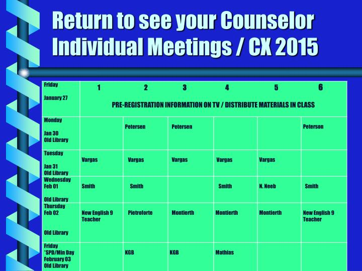 Return to see your Counselor Individual Meetings / CX 2015