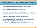 criteria for 137 3m potential solutions