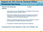 impact of 10 cut to central office financial services