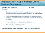 impact of 10 cut to central office human resources