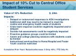 impact of 10 cut to central office student services