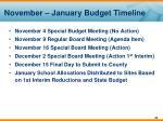 november january budget timeline