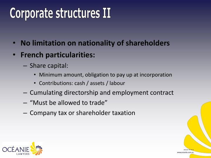 Corporate structures II