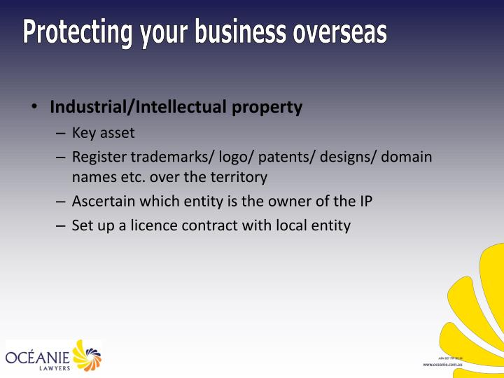 Industrial/Intellectual property