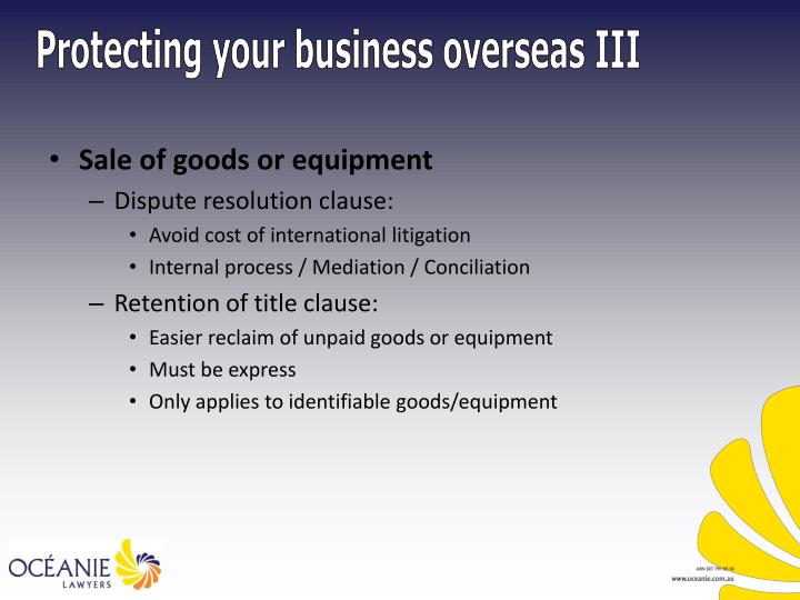 Sale of goods or equipment