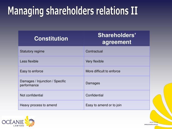 Managing shareholders relations II
