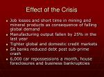 effect of the crisis