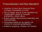financialisation and neo liberalism