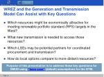 wrez and the generation and transmission model can assist with key questions