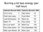 burning a lot less energy per half hour