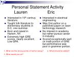 personal statement activity lauren eric