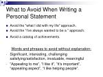 what to avoid when writing a personal statement