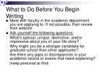 what to do before you begin writing
