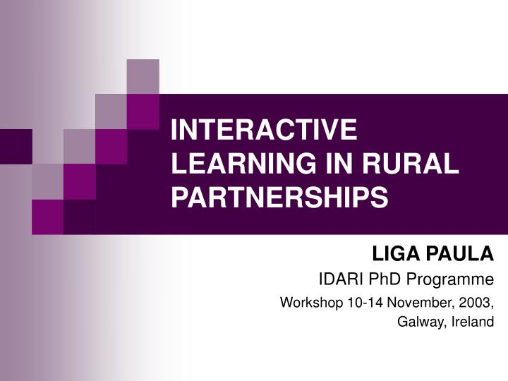 interactive learning in rural partnerships n.