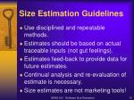 size estimation guidelines