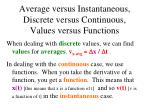 average versus instantaneous discrete versus continuous values versus functions