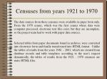 censuses from years 1921 to 1970
